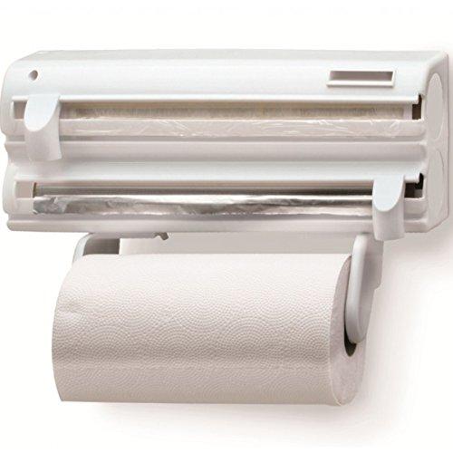 Purimax, 1211142121, Porta Rolos Maxroll 3 x 1 com Cortadores Aluminio Toalha Pvc, cor Branco, Poliestireno