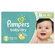 Diapers Size 2, 112 Count - Pampers Baby Dry Disposable Baby Diapers, Super Pack (Packaging May Vary)