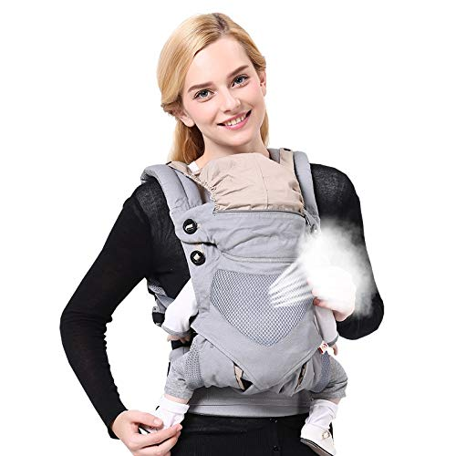 Adapte los portabebés delanteros y traseros con capucha y asiento de cadera ajustable - All Seasons Cotton Baby Carrier Wrap Multi-Position Infants Nursing