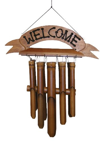 Cohasset Gifts Bamboo Wind Chimes | Natural Beautiful Sound | Wood Outdoor Home Decor | #190W Welcome Sign Chime