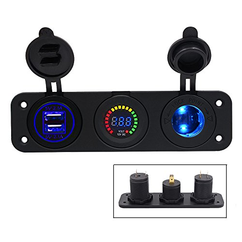 TurnRaise 2.1A 2 Puertos USB Cargador + Color LED