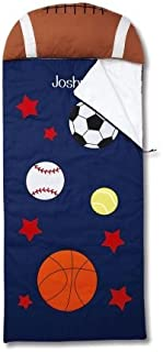 Lillian Vernon Sports Personalized Kids' Sleeping Bag with Pillow - Boys' Indoor Sleeping Bag