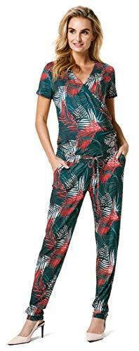 Noppies Jumpsuit nurs SS Olina Salopette Premaman, Multicolore (Deep Teal AOP P131), 48 (Taglia Produttore: XL) Donna