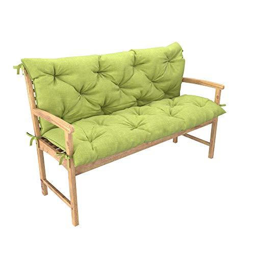 chilly pilley Bankkissen Relax Palettenkissen mit Rückenlehne Gartenschaukelkissen mit Nähten gesteppt Gartenkissen Sitzpolster Hollywoodschaukel (100x50x50, Grün)