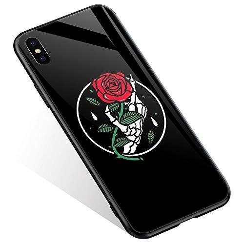 Juicy Case/Schutzhülle für LG G4, mit magnetischer Auto-Halterung, Klapp-Cover, magnetische Brieftasche, Smart View, unterstützt NFC, Freisprechfunktion, iPhone XR, Skeleton Hand Red Rose