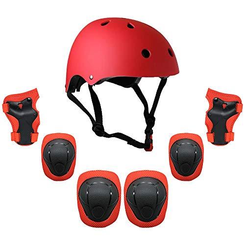 JFYCUICAN Kinder 7 in 1 Helm und Pads Set Einstellbare Kinder Knieschoner Ellbogenschoner Handgelenkschutz for Scooter Skateboard-Rollen-Skaten Radfahren (Color : Rot)