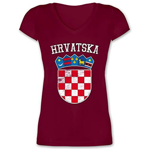 Fußball-Europameisterschaft 2021 - Kroatien Wappen WM - M - Bordeauxrot - fußball Trikot - XO1525 - Damen T-Shirt mit V-Ausschnitt
