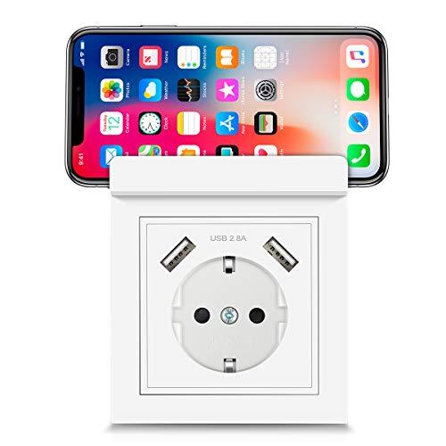 USB Steckdose System 55 mit Handyhalter, Kaifire 55X55 Schuko Steckdose mit 2 USB Ladegerät 2.8A Wandsteckdose Unterputz Reinweiß - Laden Smartphone Tablet