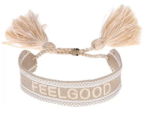 Gift4U Damen Herren Unisex Freundschaftsarmbänder Stoffarmband Armband mit Stickerei GU070521A0 (Beige_FEEL GOOD)