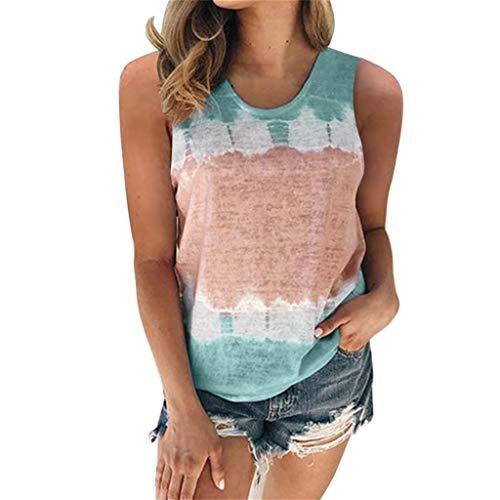T-Shirt à Manches Courtes Femmes Eté Décontractée Dégradé de Couleur Col Rond Tee-Shirt Hauts Tops Blouses Casual Sport Haut Tunique Pas Chemise Mode Femme Vêtements