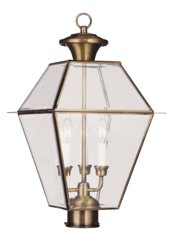Livex Lighting 2384-01 Westover 3-Light Outdoor Post Head, Antique Brass