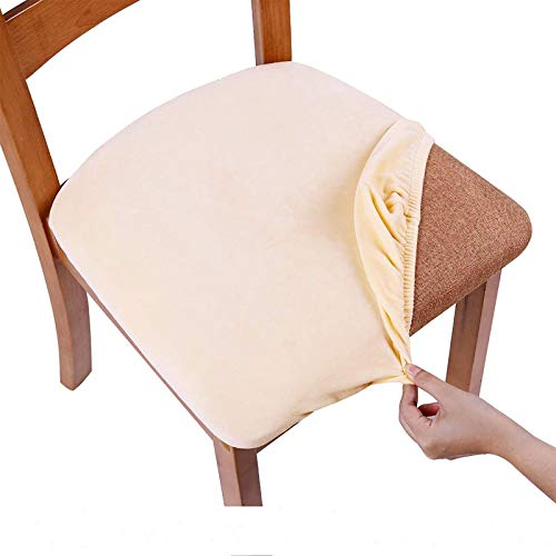 smiry Stretch Chair Seat Covers for Dining Room, Velvet Dining Chair Seat Protectors Chair Slipcovers, Set of 4, Cream