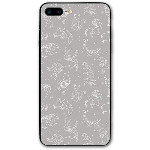HNJZ-GS Constelaciones Origami Gris Animales geométricos Estrellas iPhone 7plus 8plus 7/8 Plus Funda de teléfono Funda Decorativa Accesorios móviles