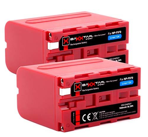 2X BAXXTAR PRO Energy - Ersatz für Akku Sony NP-F970 (echte 7800mAh)
