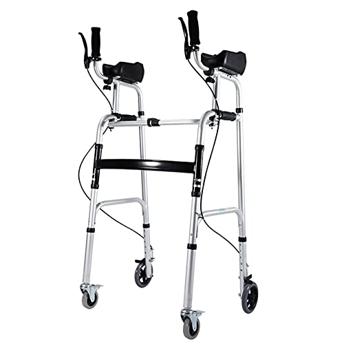 SSZY Andador Andadores para Ancianos Plegable Andadores con Ruedas Verticales con Frenos y Soporte de Antebrazo,Ancianos Ligero Andador con Ruedas de Aluminio para Personas Altas/Discapacitadas