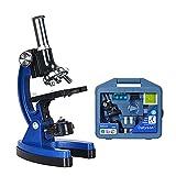 KIDS microscopio 1200 veces equipo de laboratorio caja de herramientas conjunto de microscopio de metal 1200x para niños (AZUL)
