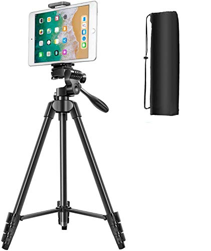 Tripod for Camera, 55 Inch Lightweight Tripod for Phone with 2 in 1 Holder for Tablet and Cellphone Aluminum Alloy 3-Way Head Tripod for DLSR Camera with Carrying Bag and Bluetooth Remote Control