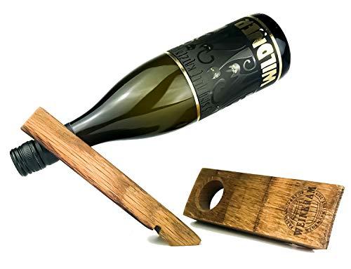 WEINKRAM Soporte mágico para botellas de vino, hecho a mano de un barril de vino tinto, idea de regalo para amantes del vino, fabricado en Alemania, 1 unidad