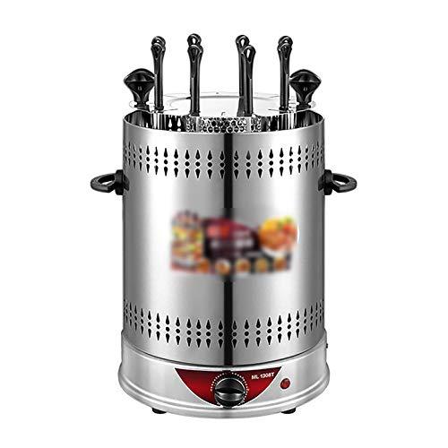Huachaoxiang Vertikaler Edelstahl Elektro-Tischgrill, 360° Elektrogrill Für Fleisch/Garnelen/Gyrosspieße Dreh Heizmodul Mit Schutzgitter,1