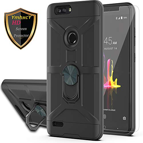 YmhxcY Case for ZTE Blade Z Max/ZTE ZMax Pro 2 / ZTE Sequoia with HD Screen Protector 360 Degree Rotating Ring Kickstand Holder Dual Layers of Shockproof Phone Case for ZTE Z982-ZS Black