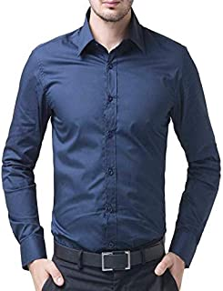 Men's Cotton Navy Blue Solid Full Sleeve Shirts