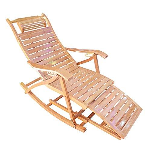 JFFFFWI Sun Lounger Schaukelstuhl mit Fußstütze Design - Ergonomische Bequeme Relax-Liege aus Holz für Garten-Patio-Pool-Sauna im Freien, Bambus, Unterstützung 200 kg