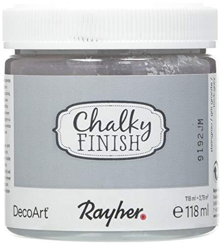 Rayher 38867558 Chalky Finish auf Wasser-Basis, Kreide-Farbe für Shabby-Chic-, Vintage- und Landhaus-Stil-Looks, 118 ml, steingrau