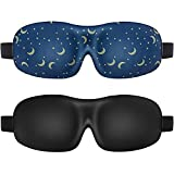 2Pack Lonfrote 3D Deep Molded Sleep Mask,with Ear Plugs and Carry Pouch, Lightweight & Comfortable Eye Mask, Super Soft Material (Black & Blue)