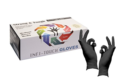 Heavy Duty Nitrile Gloves, Infi-Touch Strong & Tough, High Chemical Resistant, Disposable Gloves, Powder-Free, Non Sterile (1, Medium)