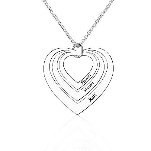 Collana personalizzata con nome di famiglia Collana con 3 cuori incisa a forma di cuore