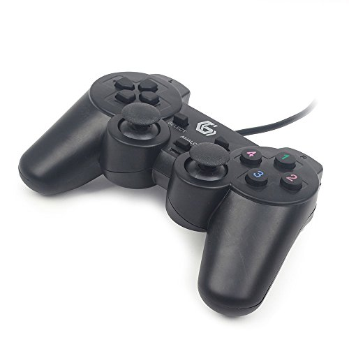 Gembird JPD-UDV-01 Gamepad PC Negro Mando y Volante - Volante/Mando (Gamepad, PC, Analógico/Digital, D-Pad, Alámbrico, USB 2.0)