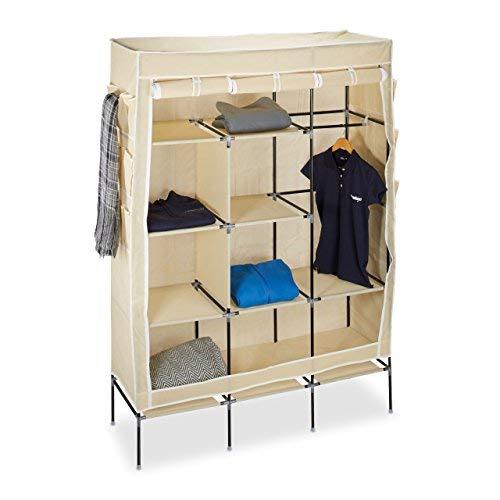 Relaxdays Faltschrank VALENTIN groß H x B x T: ca. 179 x 124 x 42 cm Kleiderschrank mit 10 großen Fächern Wäscheschrank aus Stoff als Garderobenschrank und Campingschrank mit Kleiderstange, beige