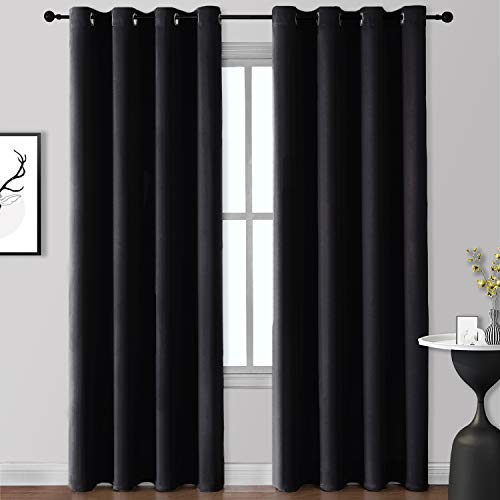 Rutterllow Blackout Curtains for Bedroom, Thermal Insulated Room Darkening Curtains 2 Panels for Living Room, Grommet Top (52x84 Inch, Black)