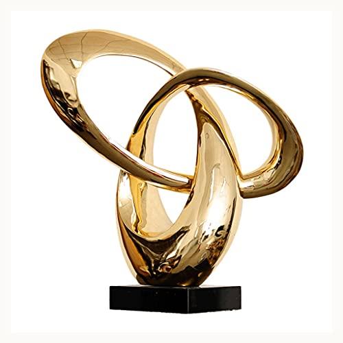 ECSWP KWONFPCM Caballamiento Oro Plata Resina Resina Sala de Estar decoración Negro mármol Escultura Moderna Estatua Regalo de cumpleaños para Boda (Color : Gold)