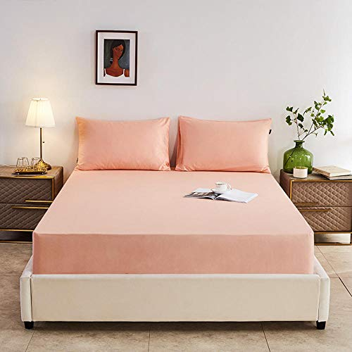 GTWOZNB No-Iron Bottom Sheet with Strong Elastic Hem to Fit Snugly Around Your Mattress Pure Cotton Bed Sheet Pure Color Hotel-Pink Jade_180*200cm
