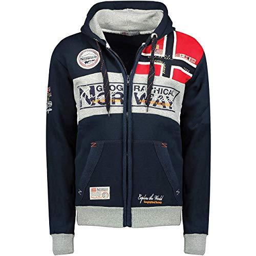 Geographical Norway Flyer Men - Felpe Elegante Zip Cappuccio Tasca Uomo - Felpe Logo Uomo - Felpe Unisex Cappuccio Hoody Tasche - Hoodie Pullover Sport Casual Uomini Blu Marino XL