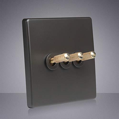 Tritow Interruptor Retro Hecho a Mano Interruptor de Palanca de Mejora del hogar Interruptor de Pared de Palanca de latón Interruptor de lámpara de Pared de 2 vías Gris Oscuro 1-4 Gang