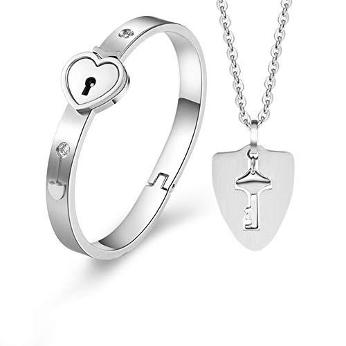 ZYQXB - Juego de collar y pulsera con llave concéntrica (metal color: DY)