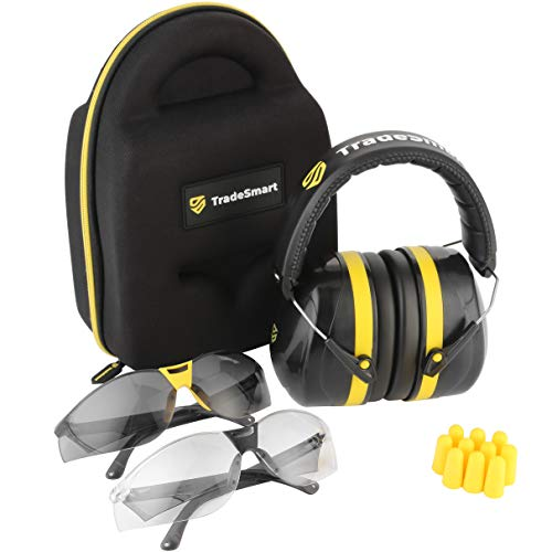 TRADESMART Ear Muffs, Earplugs and 2PK Adjustable Gun Safety Glasses with Case