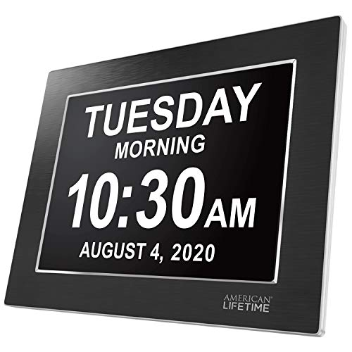 American Lifetime, Premium Version, Day Clock Extra Large Impaired Vision Digital Clock with Battery Backup and 5 Alarm Options, Limited Edition Black Polished Metal Frame