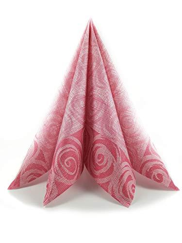 Mono Servilletas con flores, de tela no tejida, de papel, airlaid, decoradas, 40 x 40,50 unidades, colores elegantes (rojo burdeos)
