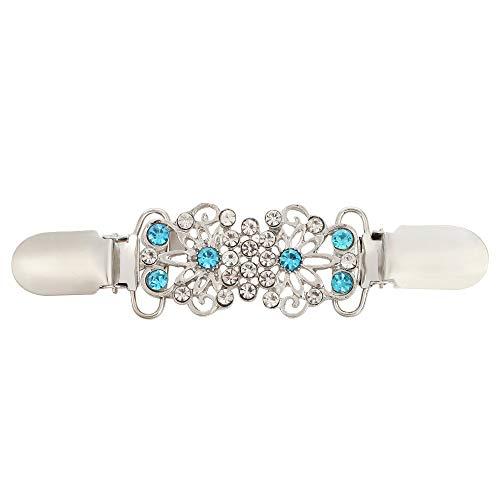 AKKi jewelry Damen Pullover-Clip Kragen Strick-Jacke Cardigan Schal blusen Clips Pullovers metallclips für brosche Nadel Türkis