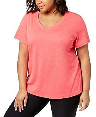 Ideology Womens Plus Jersey Fitness T-Shirt Pink 2X