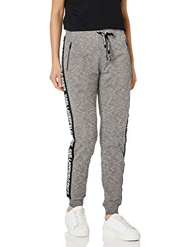 Karl Lagerfeld Paris Damen Karl Logo Taping Jogger Jogginghose, Heather Grey Multi, Mittel
