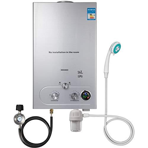 Husuper Calentador de Agua de LPG 16L 32KW Calentador de Agua de Gas Licuado Calentador de Agua Automatico con LCD Calentador de Agua Instantaneo Propane Gas Hot Water Heater