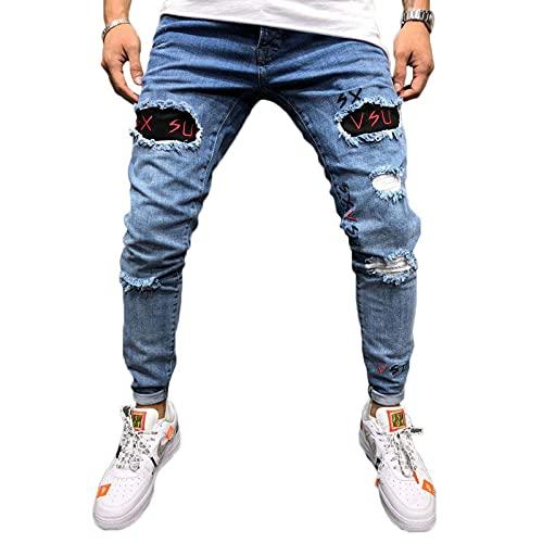 Livingsenburg Pantaloni Jeans Strappati Slim Fit da Uomo Pantaloni Skinny in Denim Casual a Tinta Unita(M, Blu)