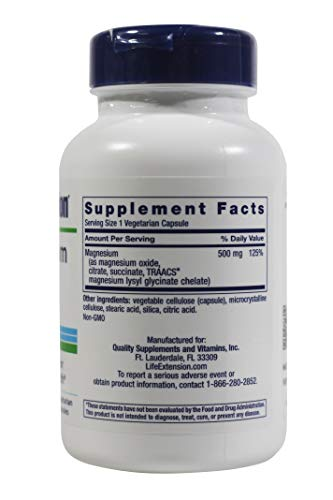Life Extension Magnesium Capsules 500mg, 100-Count