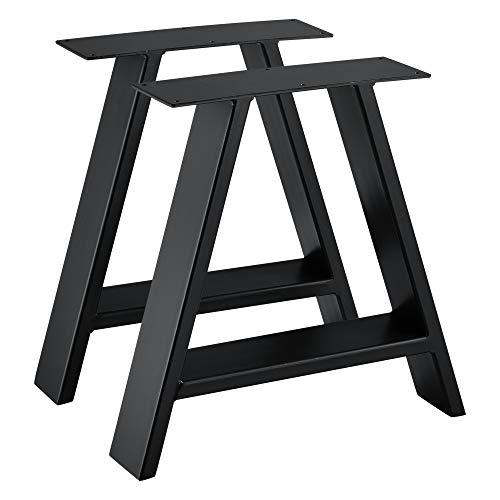 [en.casa] 2X Tischbein 40x10x40 cm Tischgestell im Set Stahl Metallgestell Schwarz
