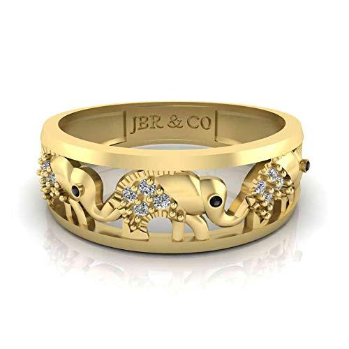 Jbr - Anillo de plata de ley con diamante de corte redondo brillante para ella, con caja de joyería
