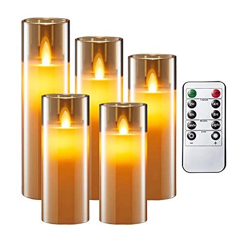 AnnTec LEDキャンドルライト ロウソク 本物の炎のようにゆらめく5点セット 暖色光 火を使わない ゆらゆら揺れる 安全 省エネ 専用リモコン付き 明るさ調整 電池式 LEDライトキャンドル